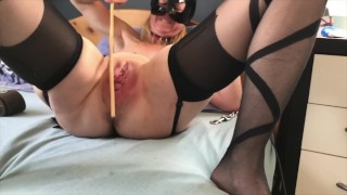 Submissive Painslut Self Torture: Extreme Cunt Whipping, Caning & Belting