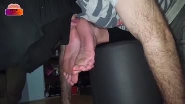 Licking and worshiping housewife's feet