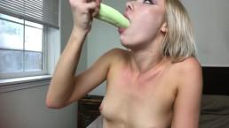 Blonde Braces Teen Athena May Practices her Deepthroat Skills