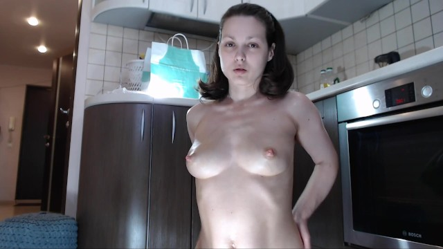 Young Mom Playing with her Milky Oily Tits!