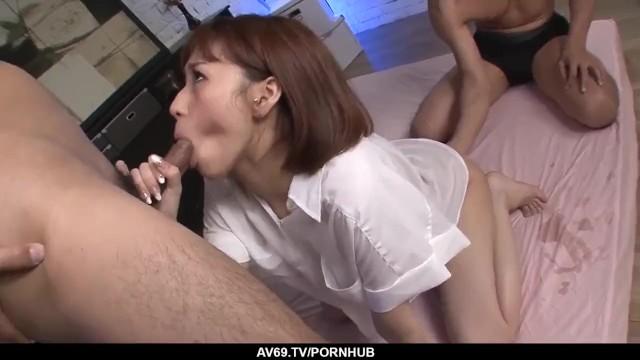 Young Maomi Nagasawa bends for a huge dick