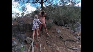 Risky Amateur Public Bondage Blindfold & Tied to Tree & Made Cum