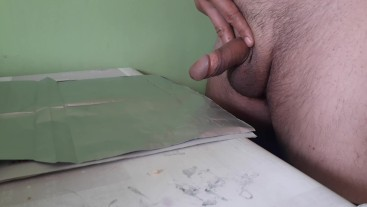 Shaved Tiny Cock Daddy jerk off and cumshot when try a znot Cum challenge