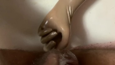 Prostate Handjob Cum In My Mouth With New Surgical Latex Gloves.