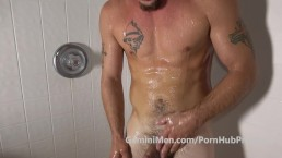 Eli pops his BUTT PLUG out in the Shower!!