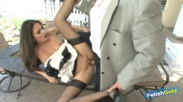 Older muscular guy cheating on wife with sexy brunette maid outdoors