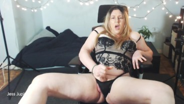 "Jerking my 7"" hard cock in lingerie"