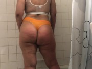 Wife see through wet clothes in shower