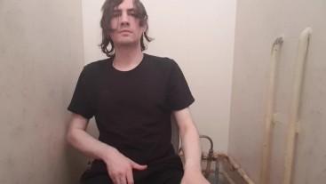 Boy wanking in public toilet