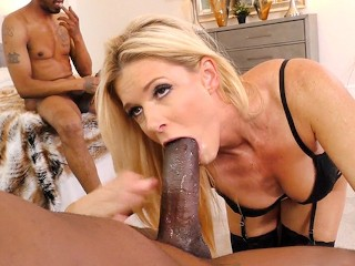 Swimsuit Bondage And Gagged Fucking, Blonde Cougar IndiA Summer Has Threesome Sex With BBC Big Dick