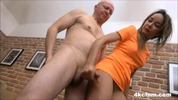 Babe jerking off her step dad