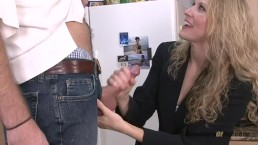 Cute Blonde Reporter Sucks Dick on Live TV