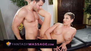 Screen Capture of Video Titled: FantasyMassage Voluptuous MILF Boss Offers Herself For Practice