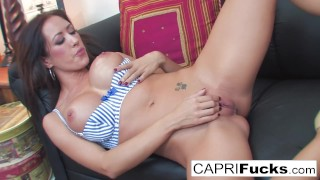 Capri loves to show of her amazing tits and pussy