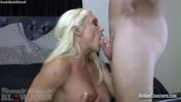Blonde Female Muscle Porn Star Sucks Cock