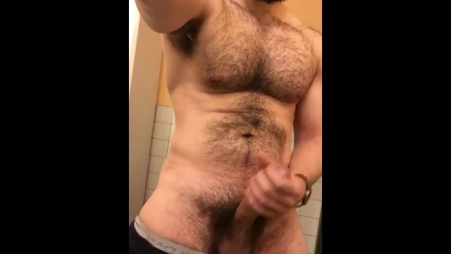 Muscle studs fucking hairy bears - Muscled hung hairy stud jerking in public restroom