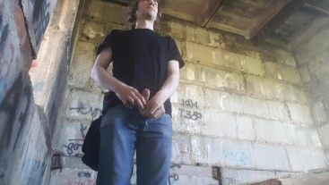Outdoor wank and cum in ruined building