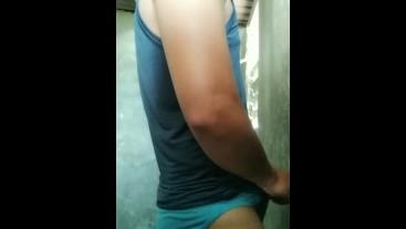 Sexy guy jerk his cock until he cums hard
