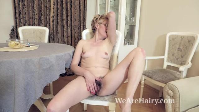 Carpet tack strip glue Barbara strips naked and masturbates on her carpet