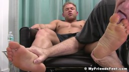 Feet worshiped hunk enjoying every moment of his session