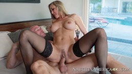 Naughty America - super MILF Brandi Love rides a big white cock