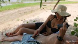Hot Brunette Jerking Big Cock Of Her Friend On The Beach Public