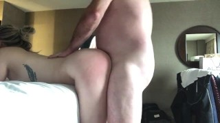 Young girl gets fucked hard behind by DILF