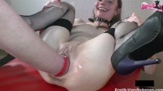 fisting session in hot german groupsex party with squirting sluts