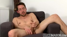 Handsome Brit jock Jason Stark wanking off after sex interview
