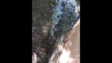 Outdoor pee desperation female POV, piss puddle