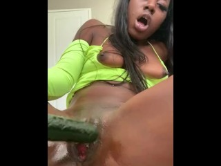Fucking On 10 Inch Large Cucumber Oiled UP