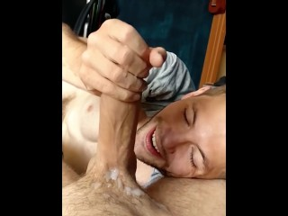 Hot Guy Sucking on My Uncut Dick – Massive Cumshot in Slow-Mo