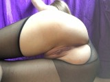 PH4U: After college torn pantyhose and fucked pussy with a rolling pin