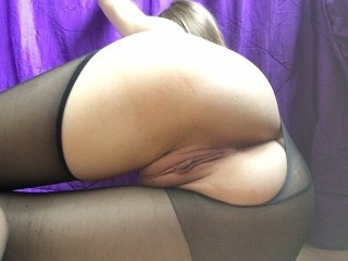 After school torn pantyhose and fucked pussy with a rolling pin