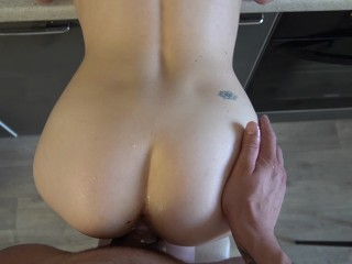 4k Porn Moms Sex in the kitchen. Cum out of cunt comes to the floor