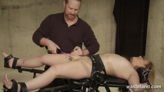 Electric stimulation for orgasm Dominant male stimulates bound submissive with electricity and dildos