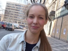 GERMAN SCOUT - CUTE TEEN KINUSKI TALK TO REAL LEG SHAKING ORGASM CASTING