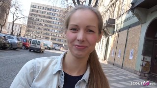 GERMAN SCOUT – CUTE TEEN KINUSKI TALK TO REAL LEG SHAKING ORGASM CASTING