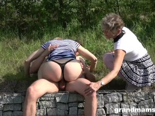 Two Grandmas Are Sucking the Life Out of an Innocent Twink
