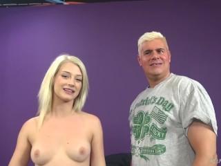 Porno Gold Adorable video: Adorable Alabama Teen Aubry Gold Spins on Porno Dan\'s Rod