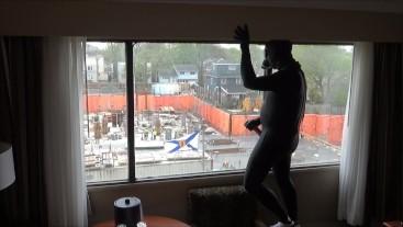 frogman cums on window watching construction workers across street