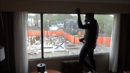 frogman cums on window watching construction workers across street