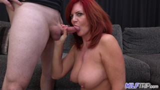Mature redhead Andi James and her big bouncy tits make me blow 2 loads