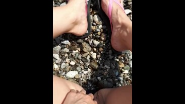 Public pissing on a coast female POV