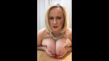 Annabel's jerk off instruction using my BIG tits