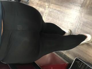 Wife in see through bodysuit in supermarket bending over