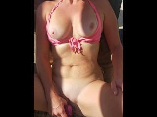 Slutty Sunday. Letting the neighbors watch me with my big dildo by the pool