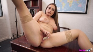Sophie Delane Spreads Legs And Fucks Herself With Vibrator In Her Office!