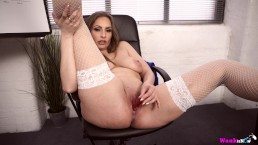 Sophie Delane Gets Her Warm Pussy Juices All Over Red Vibrator In Office!
