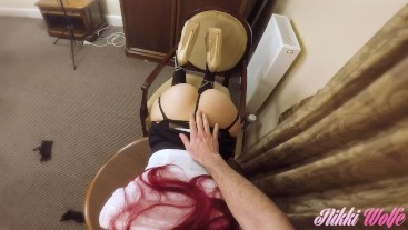 Slutty manager called. Ends up giving head and receiving huge messy facial!